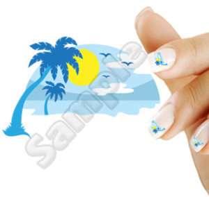20 Nail Art Decals Island Sunset Beach Palm Tree Blue