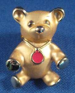 Vtg Gigi Giusti Teddy Bear Pin Gold Tone Signed Cute