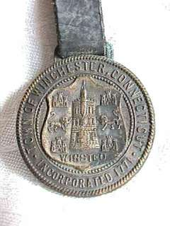 1771   1921 Winchester Connecticut Watch Fob First Church Organized