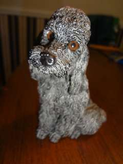 CAREY POODLE DOG TEXTURED RESIN FIGURINE 5 X 3 1985 WHISKERS