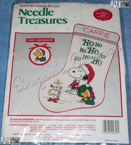 Peanuts Snoopy, Woodstock HO HO HO Stocking Counted Cross Stitch