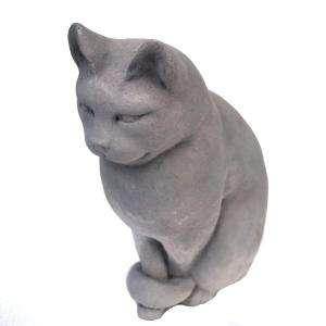 Sitting Cat Garden Statue Antique Gray GNCSC AG
