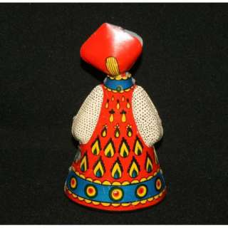 Vintage Russian Folk Costume Wind Up Tin Toy Doll