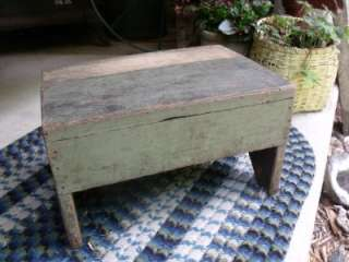 Rustic Primitive Antique Step Stool Original GREEN Paint SOLID Sturdy
