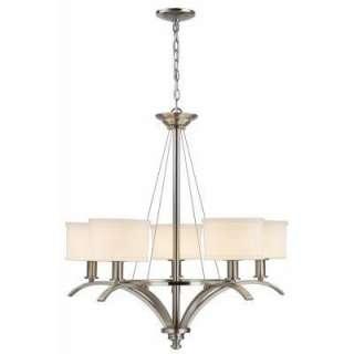 Mayport Collection 5 Light Hanging Brushed Nickel Chandelier