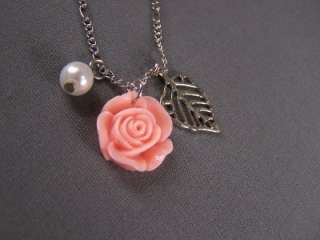 Peach leaf rose rosette faux pearl pendant necklace