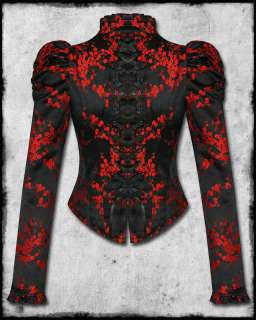 HELL BUNNY BLACK RED SATIN CHINESE FLOWER GOTH STEAMPUNK ROSEANNA