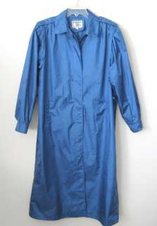 Womens WEATHER WISE Long Blue Rainwear Coat Size 16