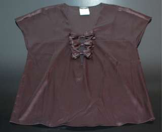 Silk Satin Charmeuse Triple Bow Shirt Top Evening Blouse 40 NR