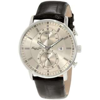 NEW* Kenneth Cole New York Mens Chronograph Leather Strap Watch