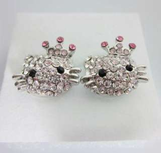 Lovely Hello Kitty Pink Crown Princess earring earbob eE14 Best Xmas