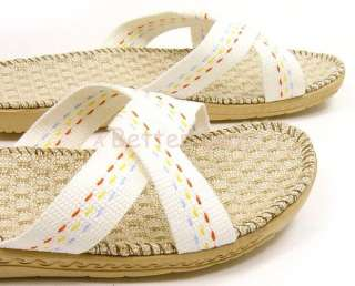 Bamboo Fiber Women Slippers House Shoes JS 741 White