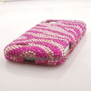 Pink Zebra Diamond Bling Hard Case Cover For Motorola Atrix 2 MB865 AT