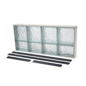 TAFCO WINDOWS NailUp2 Glass Block Window, 32 in. x 14 in., Ice Pattern