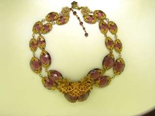 Miriam Haskell Runway! Russian Gold Amethyst Glass Bead Crystal