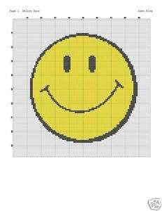SMILEY FACE Cross Stitch Pattern   2 colors   NICE!!