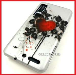 FOR MOTOROLA DROID 3 RED HEART SILVER HARD COVER CASE