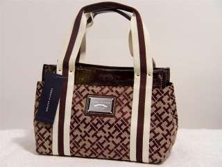 NEW ommy Hilfiger Logo Brown Handbag oe Bag Small |