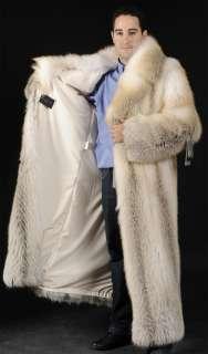 Mens Mans SAGA ROYAL Golden Island feathered full length Fox Fur coat