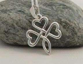 Sterling Silver Heart Shaped Shamrock Pendant IRISH