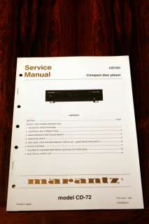 Marantz CD 72 CD Player Service Manual *Original*