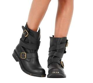 JEFFREY CAMPBELL ROUGES BLACK DISTRESSED LEATHER BUCKLE WRAP ANKLE