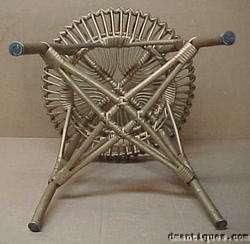 Vintage Ornate Gold Ladies Wicker Chair & Foot Stool