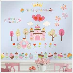 HAPPI CUPCAKE LAND 56 BiG Wall Stickers Princess Castle Room Decor