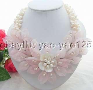 Wonderful 3Strds White Pearl&Rose Quartz Flower Necklace