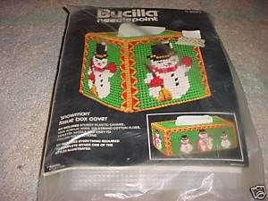 Bucilla Needlepoint tissue box cover kit NIP SNOWMAN