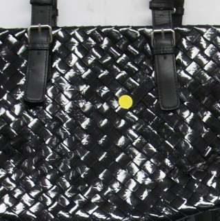 Hot In Hollywood Woven Patent Uptown Tote Bag Black Large NEW 2ND