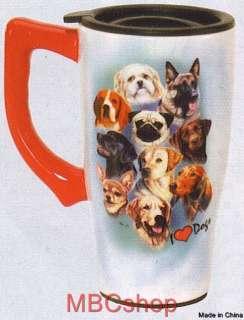 Variety Dog Breeds Ceramic Coffee Mocha Latte Travel Mug, Plastic Lid