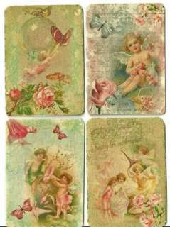 Vintage inspired angel fairy small note cards tags ATC altered art set