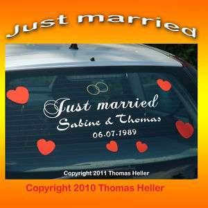 Just Married Aufkleber Auto Wunschtext Hochzeitsauto