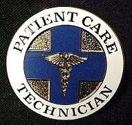 Patient Care Technician Blue Cross Caduceus Emblem Pin