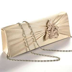 HANDBAG EVENING PARTY WEDDING PROM BAG SATIN ROSE CLUTCH BAG