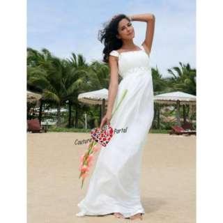 Empire Column Floor length Chiffon Wedding Dress