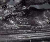 French Bronze Casting Blood Hound Dog Signed Mene