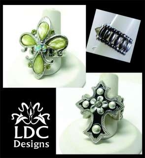 Silver with Crystals Adjustable Stretch Rings  2 Styles