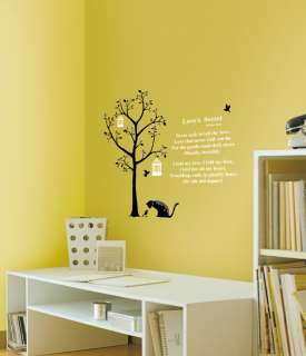 Poem Cat Birds Tree Wall Stickers Home Vinyl Art Decals