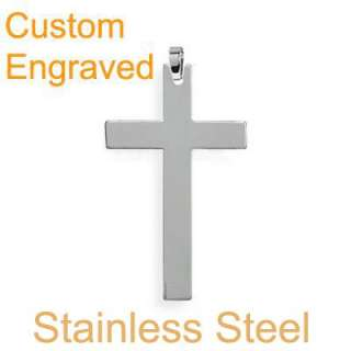 classic stainless steel cross pendant w/chain necklace
