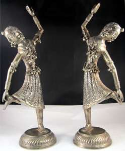 VERY NICE ANTIQUE SILVER STATUE FIGURES LOW BID