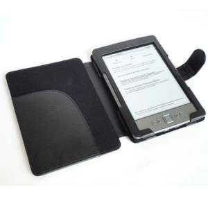 KINDLE 4 BLACK SOFT FEEL CASE COVER WALLET MAGNETIC NEW UK
