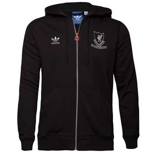 New Adidas Originals Liverpool LFC Black Zip Hoodie Hooded/Jacket XXL