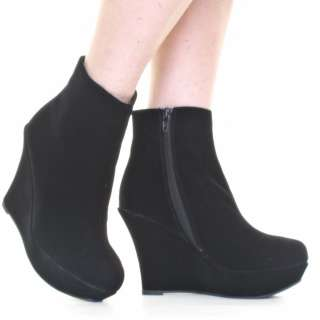 WOMENS BLACK MID HEEL PLATFORM SUEDE STYLE WEDGE LADIES ANKLE BOOTS