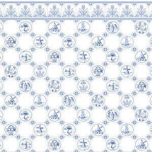 Doll House Miniature Wallpaper Dutch Blu Tile h6
