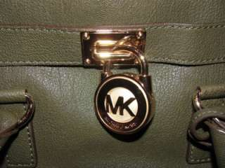 MICHAEL KORS LEATHER HAMILTON LODEN GREEN SATCHEL TOTE BAG PURSE FLAP