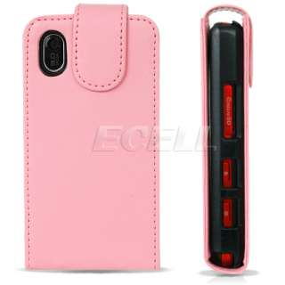 NEW PINK LEATHER FLIP CASE FOR LG KP500 KP501 COOKIE UK