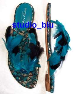 SERGIO ROSSI Blue Black Feather Jewel Sandals Shoes 38