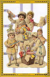 VICTORIAN CHILDREN Paper Die Cut Scrap Art England Decoupage Card